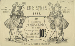 Advert for W Straker's Christmas cards